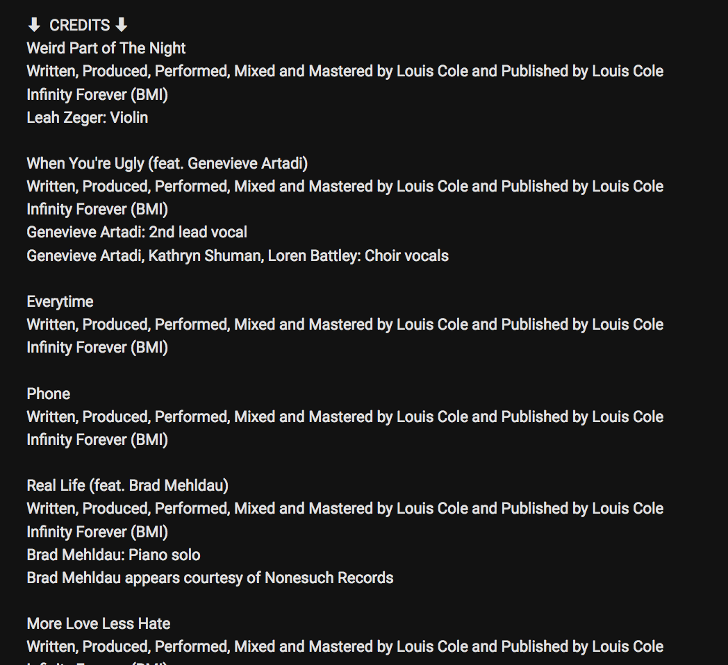Album credits showing Lous Cole did everything on the album himself